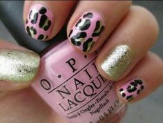 Nails pink and golden/leopard