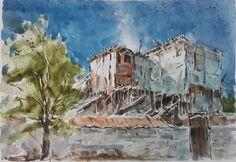 Casita hecha de desechos en Población Cartavío, Copiapó. Pintado por el pintor copiapino Juan Carlos Aguirre Carrasco.
