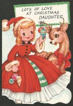 Vintage Christmas Greeting Card. Cute Girl & Reindeer! Unused w/envelope. NOS