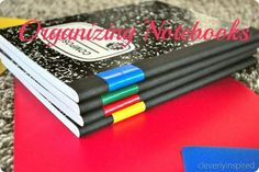 Use tape to organize your notebooks. Great way to save some $$ on school supplies.