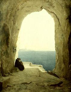 Grotte mit zwei Mönchen -Carl Blechen