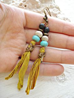 Boho Earrings Boho Jewelry Hippie Earrings by HandcraftedYoga