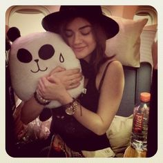 Pretty Little Liars star Lucy Hale loves to snap adorable photos with her friends, and sometimes adorable props like panda pillows. #instagram #celebrity #cute #candid #panda