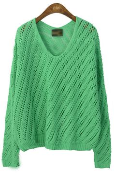 Green Long Sleeve Hollow Striped Pullovers Sweater