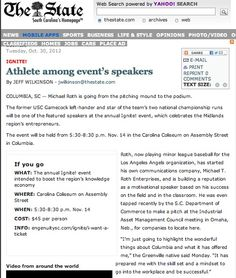 """""""Athlete Among Event's Speakers,"""" TheState.com, Oct. 30, 2012"""