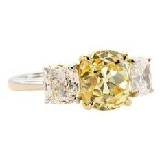 1stdibs - 3.98ct+Intense+Yellow+Diamond+Ring explore items from 1,700+ global dealers at 1stdibs.com