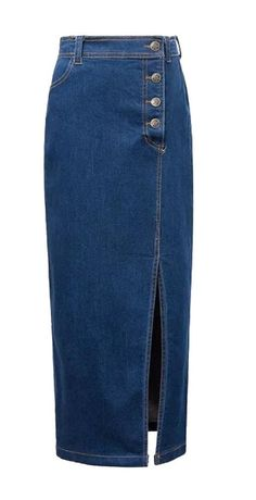 Enlishop Women's Side Split Workwear Single Breasted Long Fit Denim Skirt at Amazon Women's Clothing store: