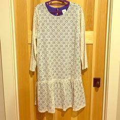 Anthropologie dress Cream lace over risk blue underlay! Never been worn! sleeves are plain lace (no underlay) Anthropologie Dresses Long Sleeve
