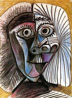 1972  Picasso  Tête, Head  Dessin  Craie et crayon de couleur sur papier  66x50,5 cm. #Cubismo #Art @deFharo