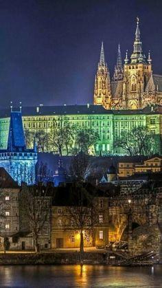 Prague Castle at  night, Czechia