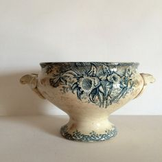 Beautiful French Antique SoupTureen - Green Transferware Soupier - Tea Stained Shabby Chic Patina