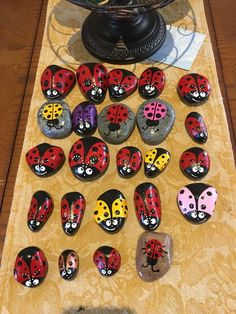 Hand painted rocks etsy rock painting patterns, rock painting d Yellow Ladybug, Ladybug Rocks, Pebble Painting, Pebble Art, Painting Art, Stone Painting, Inspirational Rocks, 3d Paper Art, Cardboard Sculpture