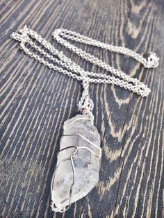 Wrapped Quartz Necklace  Raw Crystal Jewelry  by GaudyintheRaw