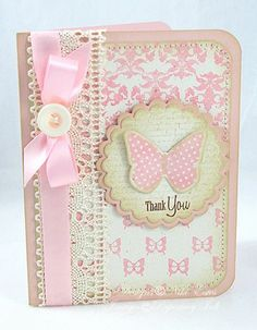 My Paper Creations: Butterfly Dreams Day 3 Pretty Cards, Cute Cards, Karten Diy, Shabby Chic Cards, Butterfly Cards, Pink Butterfly, Card Tags, Card Kit, Baby Cards
