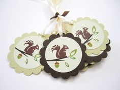 How adorable these squirrel tags are! The squirrel is on a branch of a tree with a hint of an acorn. Perfect gift tags for Squirrel or Woodland themed birthday and baby shower party celebration!   You will receive a set of 12 cute squirrel favor tags.   Each tag is adorned with ribbon. Shown ...