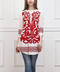 Red Scroll Notch Neck Tunic by Reborn Collection #zulily #zulilyfinds