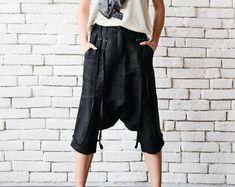 Denim Loose Pants/Oversize Maxi Pants/Blue Drop Crotch Pants/Casual Harem Pants/Plus Size Jean Pants/Denim Trousers/Wide Leg Gypsy Pants Black Linen Pants, Black Harem Pants, Black Capris, Linen Trousers, Maxi Pants, Drop Crotch Pants, Plus Size Maxi, Loose Pants, Off Black