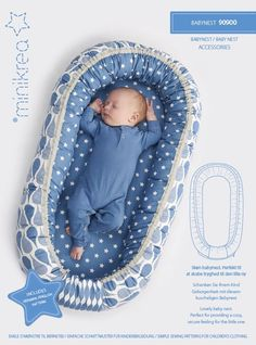 Size: Baby / Newborn Interior dimensions: 35 x 75 cm External dimensions: 50 x 85 cm Description: Lovely baby nest. Perfect for providing a cosy, secure feeling for the little one. Product: Paper pattern - This is a printed paper sewing pattern. This pattern contains a full size pattern, a detailed instruction booklet ans translations. Languages: Includes Danish, German, English.