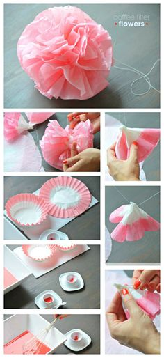 DIY ● Tutorial ● coffee filter flowers @Emily Schoenfeld Schoenfeld Schoenfeld Humphrey i was thinking about these in grey...