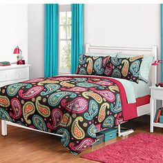 Bright Paisley Bed in a Bag Bedding Set  So cute for a teen girls room.
