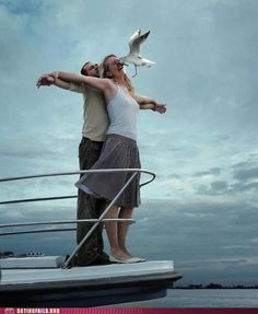 """""""honey, let's recreate the titanic moment."""" don't remember rose getting smacked in the face by a bird. lmao An epic fail of recreating the Titanic; And scene! Funny Images, Funny Photos, Hilarious Pictures, Hd Images, Foto Fails, Perfectly Timed Photos, Perfect Timing, Weird Facts, Laugh Out Loud"""