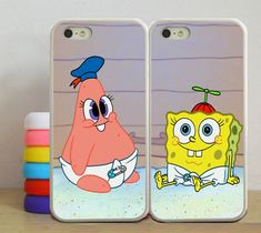 Cute Patrick & Spongebob iPhone 5/5S, iPhone 5C, iPhone 4/4S https://www.etsy.com/es/listing/195546591/spongebob-and-patrickbest-friends-couple