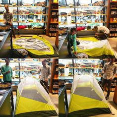 Casually pitching a tent in the store, we definitely have enough accessories to go #camping right here inside provisioner!  #staycation #workhardplayhard #campvibes #bigagnes #helinox #summerishere