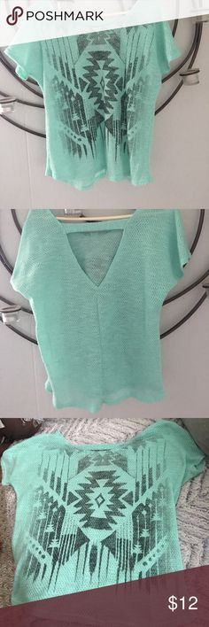 Vanity woman's top. Size M. Aztec design. A Mint color. Flawless. Worn once. Vanity Tops