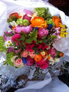Bright and beautiful bouquet of mixed spring flowers