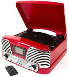GPO Memphis Record Player Red - America in the 1950s - the speaker grills remind me of a car grill. Beautiful design, I just need a hot dog and a coke!