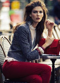 Tweed blazer + red pants