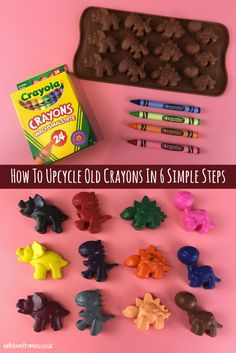 How to Upcycle Old Crayons in 6 Simple Steps - With love from Lou - Easy Everyday Kids Crafts - Do you find pieces of broken crayons scattered all around your house? Find out how I upc - Crafts To Do, Crafts For Kids, Arts And Crafts, Simple Kids Crafts, Craft Kids, Party Crafts, Birthday Crafts, Easy Diy Crafts, Decor Crafts