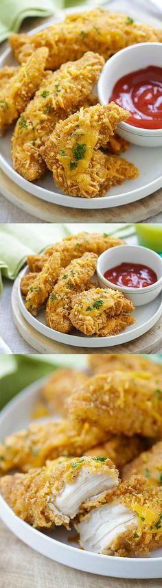 Baked Garlic Cheddar Chicken Strips – the easiest and quickest baked chicken tenders ever with cheddar cheese and garlic, so good | rasamalaysia.com #ad