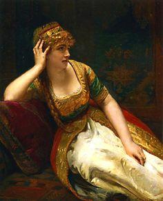 """A Harem Beauty"" (1887) by Henri Guillaume Schlesinger (1814-1893)."