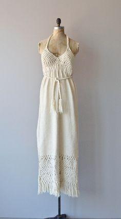 Migramah dress vintage 1970s dress cotton crochet by DearGolden