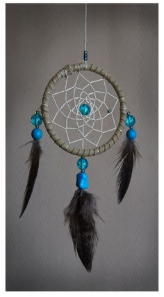 Small dreamcatcher made with turquoise, glass and feathers from norwegian free-range birds.  www.malinpettersen.com Small Dream Catcher, Turquoise Glass, Free Range, I Tattoo, Feathers, My Arts, Birds, Decor, Decoration