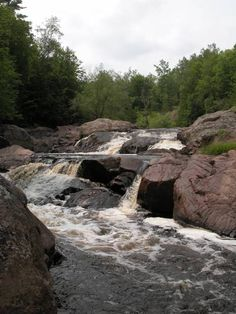 Red Granite Falls another waterfall at Copper Falls State Park in Wisconsin