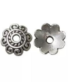 Beadcap (8 x 8 x 2 mm) 50 Stuks (Antiek Zilver)