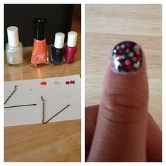 Dotted nails: take any color for base. then take 3 other colors for dotts and put on paper. Dip ends of Bobby pins in nail polish and dott all over your nail. Super cute and easy
