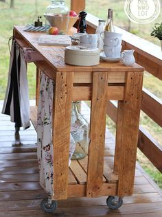 Making your own outdoor bar allows you to design a piece that complements your style. It doesn't have to be modern to be functional. Reclaimed pallets or old fencing can be turned into your own creation, and you don't need to finish these if you prefer a more rustic look.