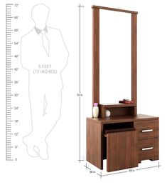 Buy Kosmo Arena Dressing Table with Stool in Rigato Walnut Finish by Spacewood Online - Modern Dressing Tables - Dressing Tables - Furniture - Pepperfry Product