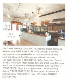 Wee Jeamie // another brilliant brunch spot Frankie Magazine, Loudoun County, Brunch Spots, Menu Restaurant, Best Coffee, Melbourne, Healthy Recipes, Shop, How To Make