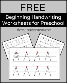 Free beginning handwriting worksheets for preschool! Get a set of free beginning handwriting worksheets for preschool! Preschool Printables, Preschool Kindergarten, Preschool Learning, Kindergarten Worksheets, Preschool Alphabet, Alphabet Crafts, Alphabet Letters, Educational Games For Preschoolers, Letter Worksheets For Preschool