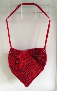 Free Crochet Heart Shaped Bag Pattern.