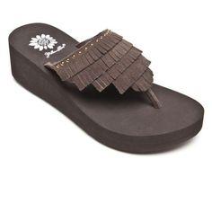 Yellow Box Brown Dario Fringe Flip Flop brown wedge heel sandals--Also in Black