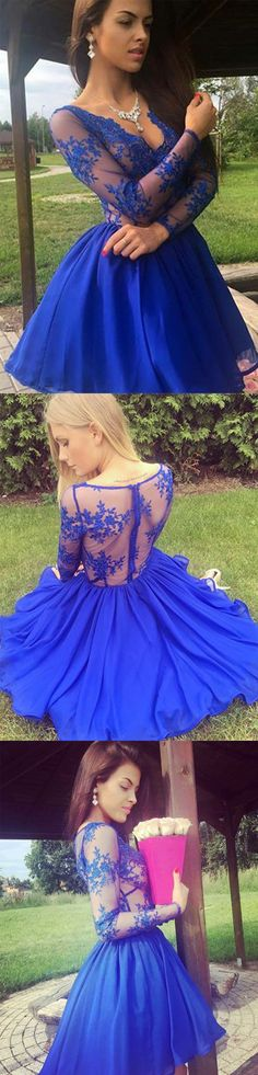 Long Sleeves Royal Blue Lace See Through Homecoming Dresses Short Prom Dress Party Gowns Royal Blue Homecoming Dresses, Prom Dresses 2017, Prom Party Dresses, Party Gowns, Dress Party, Dance Dresses, Formal Dresses, Long Sleeve Short Dress, Dress Long