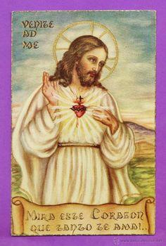 estampa religiosa - sagrado corazon - ed. sin datos - escrita - años 30 - rd22 (Postales - Religiosas y Recordatorios)