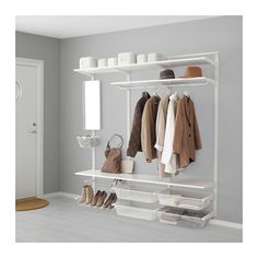 IKEA ALGOT wall upright/shelves/rod Can also be used in bathrooms and other damp areas indoors. Ikea Algot, A Shelf, Shelves, Consoles, Mudroom Laundry Room, Affordable Furniture, Walk In Closet, Spare Room, Wardrobe Rack