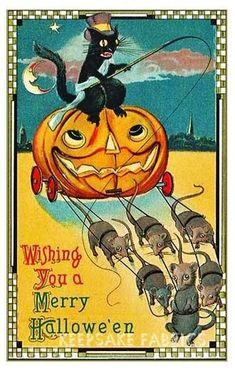 Postcard: Black cat riding on a pumpkin drawn by 6 mice Halloween Halloween Post, Halloween Pictures, Holidays Halloween, Spooky Halloween, Halloween Crafts, Halloween Decorations, Happy Halloween, Halloween Costumes, Victorian Halloween