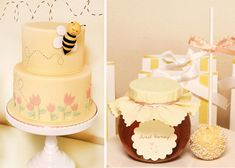 I love bee-themed parties! This cake is adorable and I love the honey as a favor...